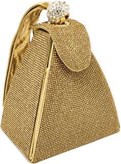 JUNfenghe Ladies Rhinestone Sequins Banquet Clutch Pyramid Hot Drill Night Tote Size: 14 * 10 * 12cm (Color : Gold)