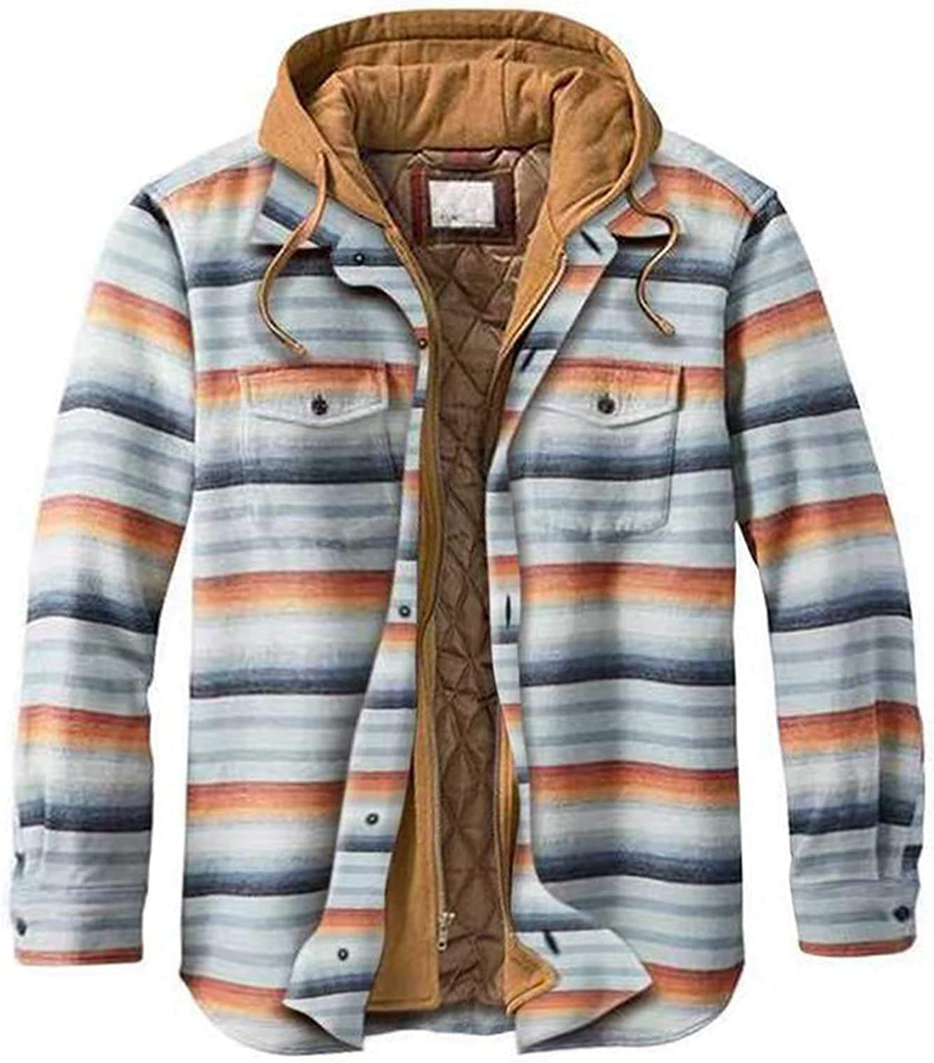 Men's Plaid Stamp Jackets,Long Sleeved Warm Lined Plush Thicken Shirt V114