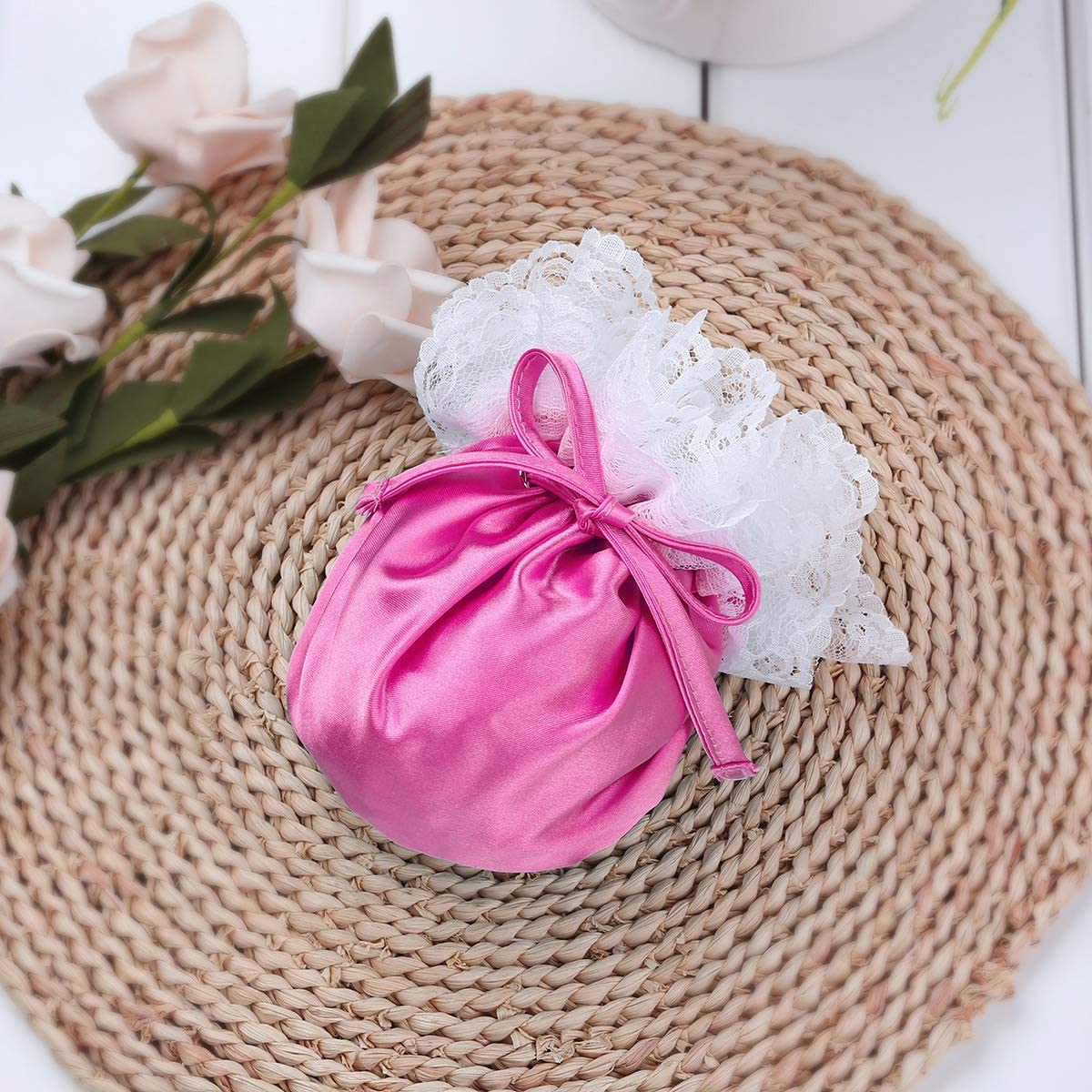 JEATHA Mens Satin Floral Lace Drawstring Sissy Pouch C-String Mini Briefs Underwear