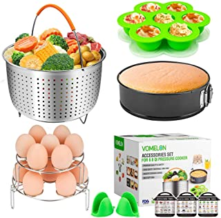 """Cooking Accessories for Instant Pot 6,8 Qt, 10-Piece Instant Pot Steamer Basket,Silicone Egg Bites Mold,7"""" Springform Pan,Egg Steamer Racks,Magnetic Cheat Sheets Oven Mitts and Recipes Cookbook Ebook"""