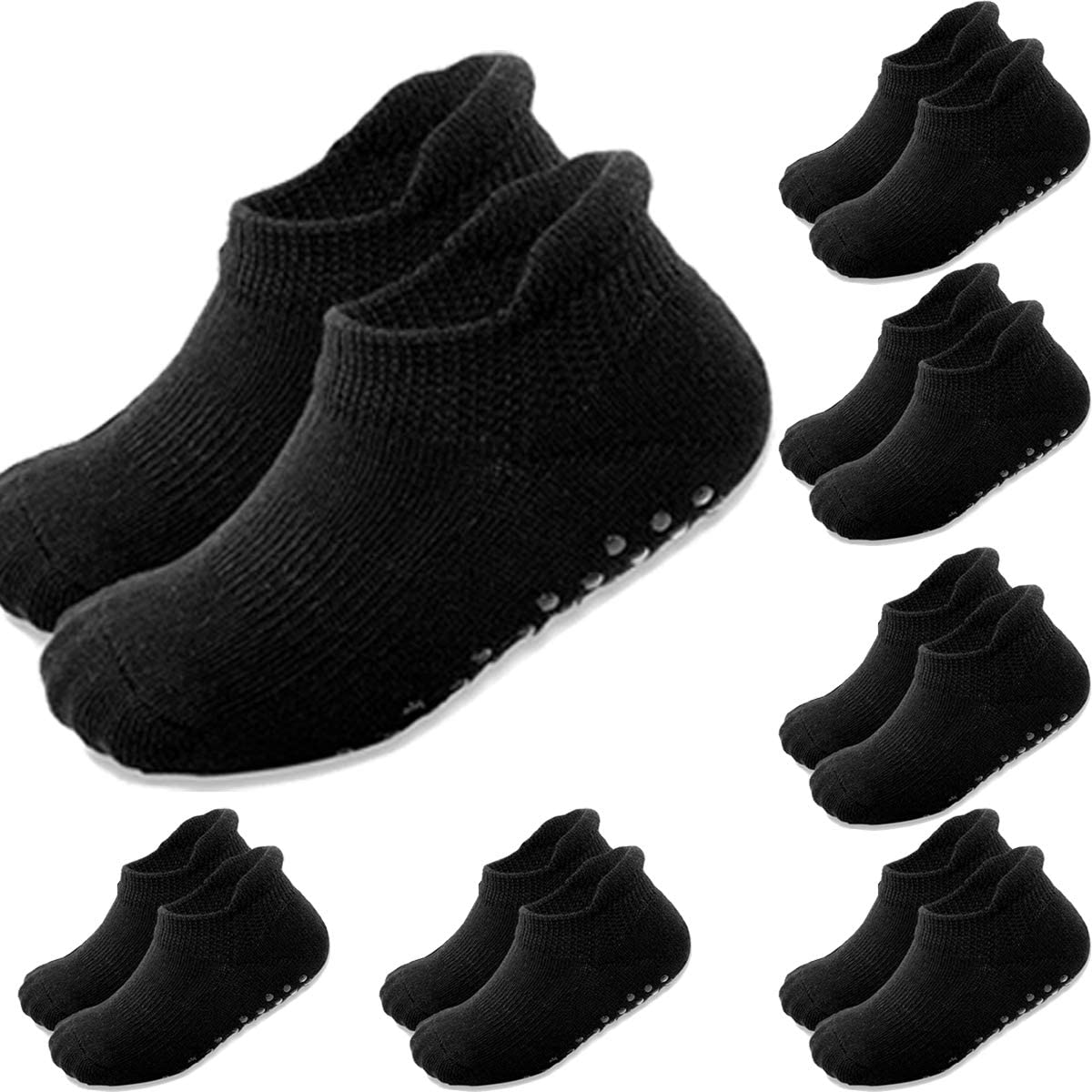 Toddler Grip Ankle Socks, Suitable for Baby Skid Soles Non-slip Warm, Infant Kids Boys Girls Combed Cotton Socks 7 Pairs