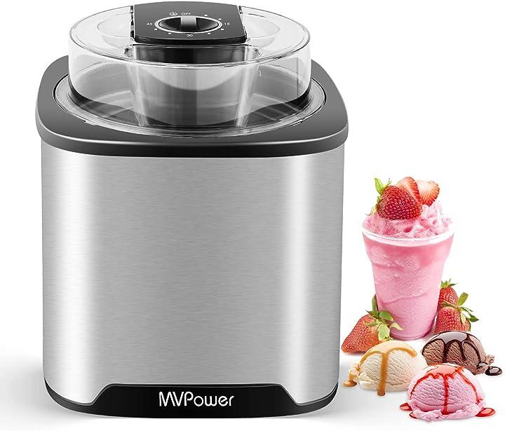 Macchina del gelato in acciaio inossidabile per yogurt freddi e sorbetti mvpower 2l gelatiera B086VLQWCS
