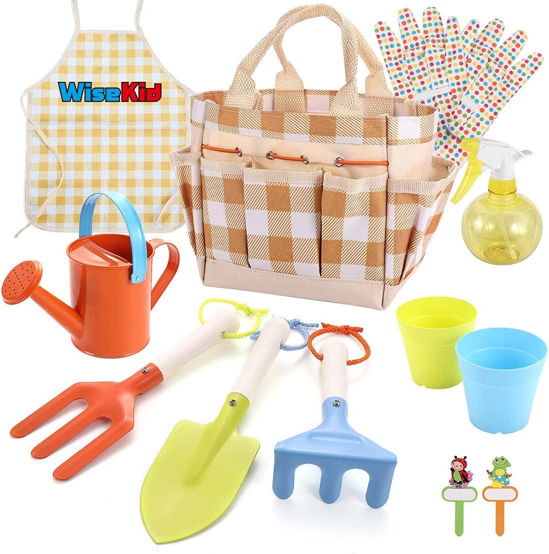 Wisekid Kids Gardening Tool Set, 12-Piece Includes Kids Size For
