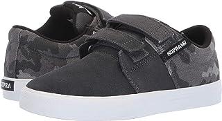 Supra Boys Stacks II Vulc Hook and Loop Shoe, Grey Camo-White - 6.5 M US