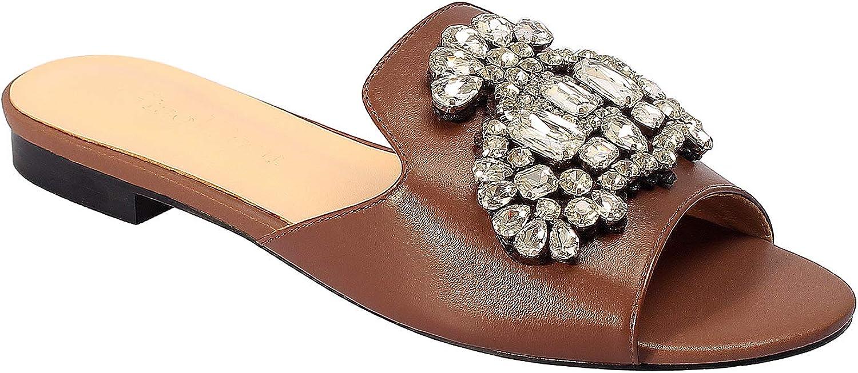 GiaoDeen Luxury Flat Slide Rhinestone Sandals for Women Designers Slip on Summer Dress Shoes Genuine Leather