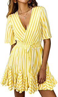 Women's Sexy Deep V Neck Short Sleeve Striped Wrap Ruffle Hem Pleated Mini Dress with Belt