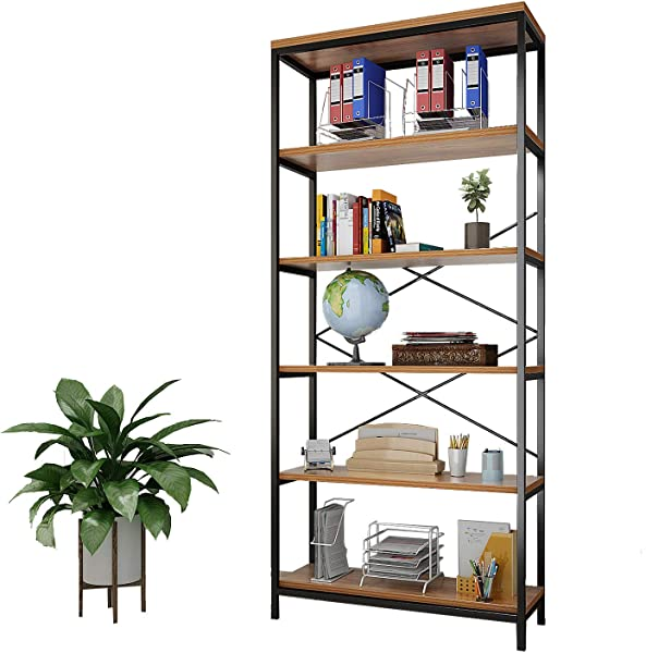 Shaofu 5 Tier Industrial Style Bookshelf And Bookcase Vintage 5 Shelf Industrial Bookshelf Furniture US Stock 2 Pack 5 Tiers