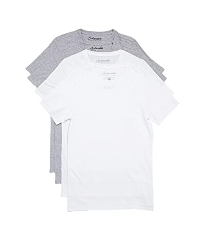PACT Stretch-Fit Crew Undershirt 4-Pack (White/Heather Grey) Men
