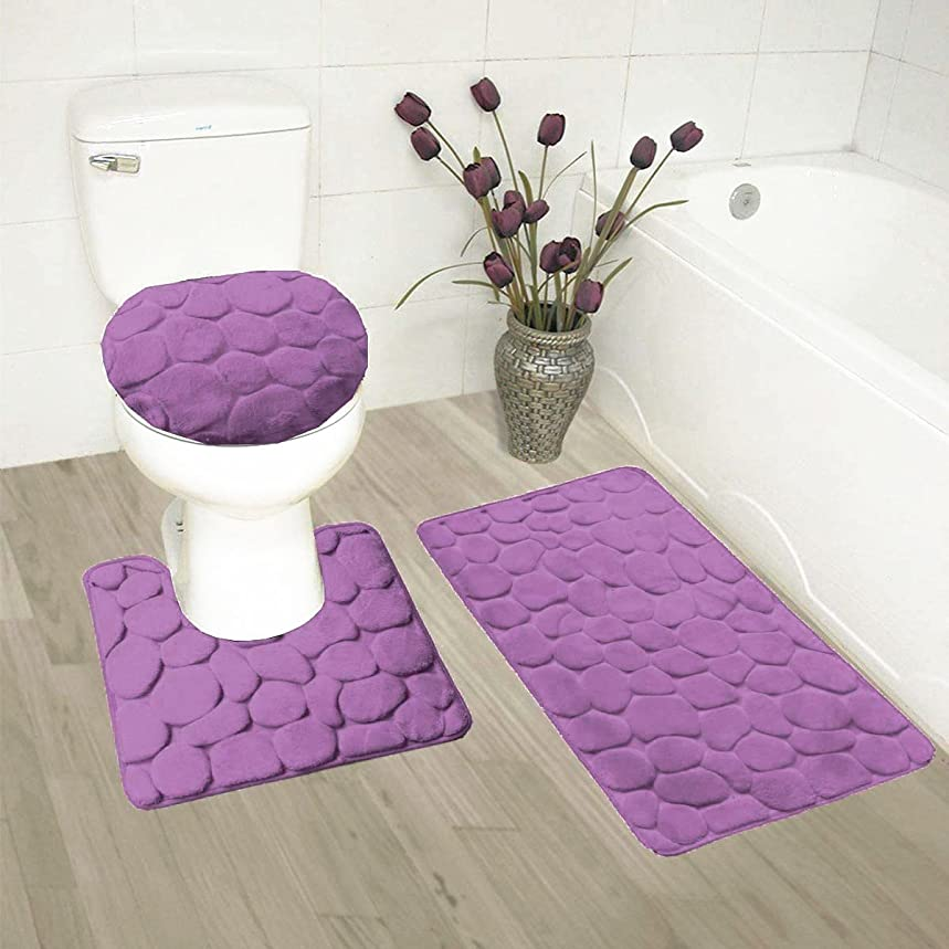 Fancy Collection 3 Pc Bath Rug Set Memory Foam Non-Slip Bathroom Rug Contour, Mat And Toilet Lid Cover Solid Purple New