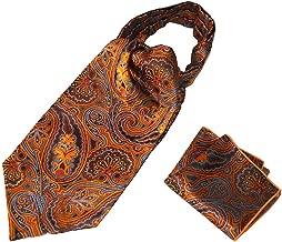 British Cashew Floral Jacquard Cravat Ascot 2-Pack Combo for Gentleman Men's Ascot Handkerchief Set