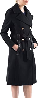 alpine swiss Womens Trench Coat Wool Double Breast Jacket Gold Buttons with Belt