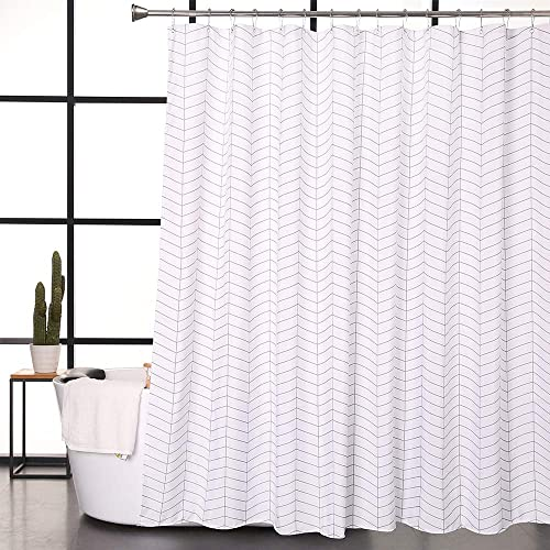 Aimjerry Water Repellent Striped Fabric Shower Curtain Mold Resistant Black And White71