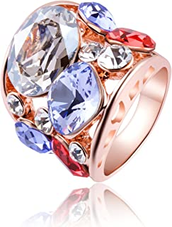 Rose Gold Crystal Rings Princess Cut Cubic Zirconia Rings with Swarovski Crystal Elements