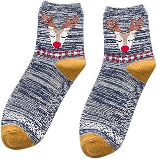 VJGOAL, Moda casual mujer Elk de Navidad tejido liso Estampado fino Cómodo Transpirable Calcetín de algodón Medias medias(Un tamaño,Azul marino)