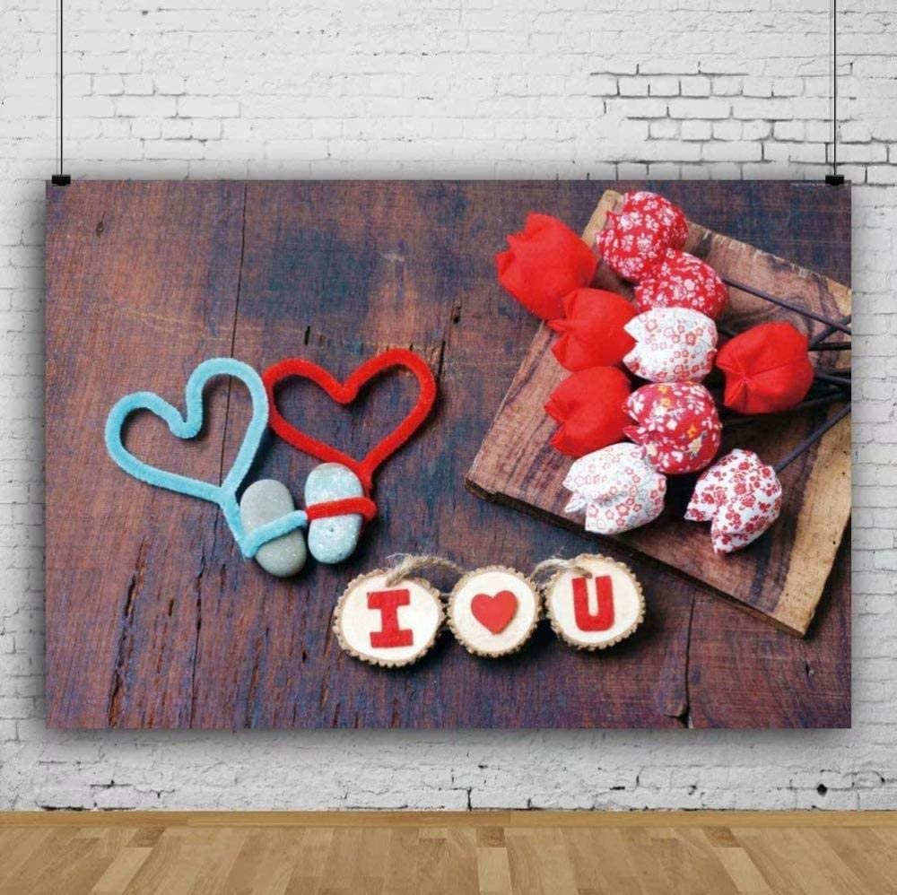 Zhy Polyester Fabric Happy Valentine s Day Backdrop 7x5ft Saint Valentine s Day Photos Background Love Photos Heart-Shaped Decor Valentine s Photobooth Studio Props
