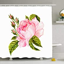 Ahawoso Shower Curtain for Bathroom 72 x 72 Inches Rosaceae Watercolor Bouquet Vintage Rose Botanical William Floral Pink Morris Antique Autumn Drawing Waterproof Polyester Fabric Set with Hooks