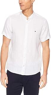 Tommy Hilfiger Men's Mandarin Collar Short Sleeve Linen Shirt