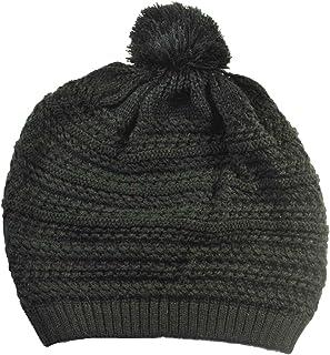 Knit Beret with Pom Pom Long Beanie Black