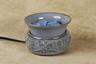 """Darice Ceramic Electric Wax Warmer, Embossed Light Blue – 4.5"""" x 3 ⅛"""" – Includes a 25-Watt Halogen Bulb, Electric Wax Melter with Easy to Clean, Removable Dish"""