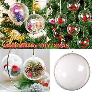 m·kvfa 5pcs Clear Fillable Plastic Ball,Christmas Ornaments Baubles Sphere Transparent Xmas Tree Ornament for New Years Present Holiday Wedding Party Home Decor (S)
