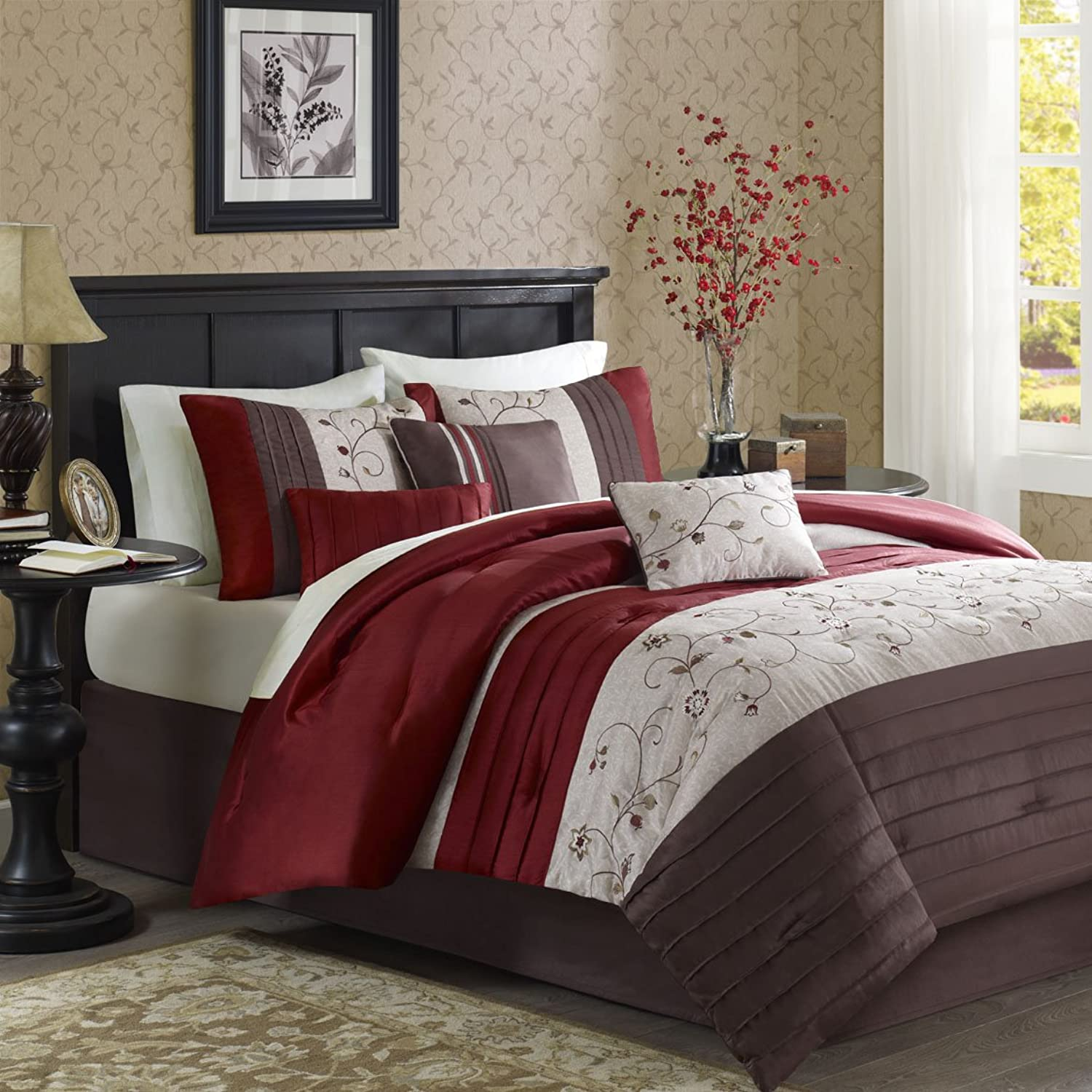 Madison Park Serene Duvet Cover Full Queen Size - Red, Embroidered Duvet Cover Set – 6 Piece – Faux Silk Light Weight Bed Comforter Covers