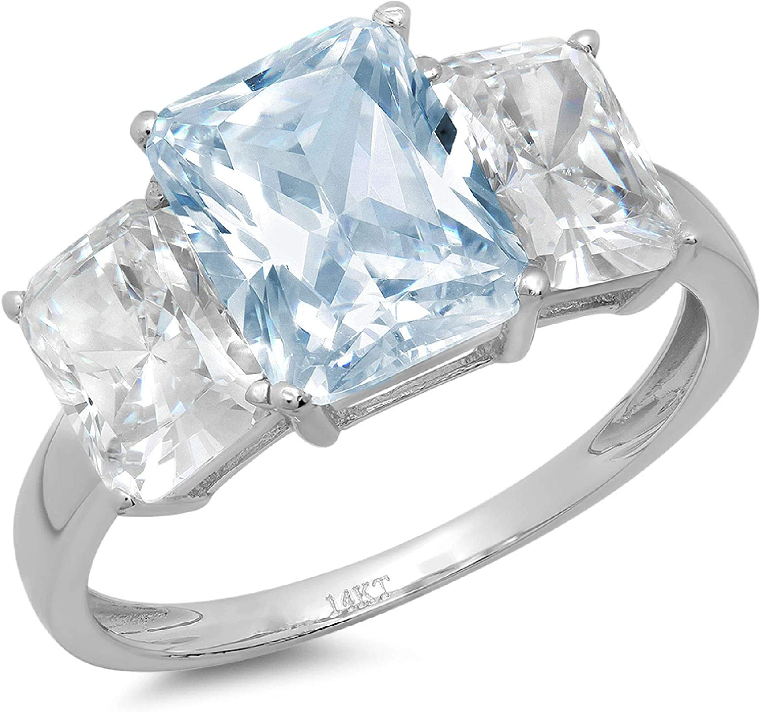 4.0 ct Brilliant Emerald Cut 3 Stone Solitaire Accent Genuine Flawless Natural Sky Blue Topaz Gemstone Engagement Promise Statement Anniversary Bridal Wedding Ring Solid 18K White Gold