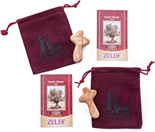 Zuluf Two Small Olive Wood Holding Crosses Comes with Velvet Bag & Certificate 6cm - CRS118