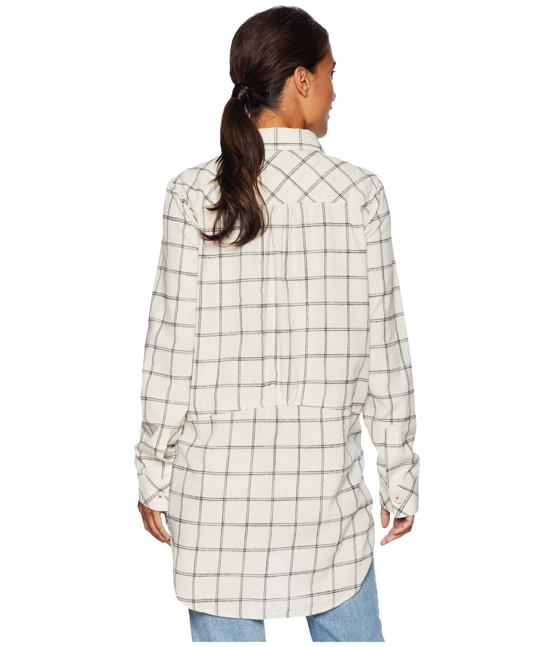 Pockets Shirt Windowpane White With Button Mod Winter doc Plaid Long Sleeve Front o Flannel qwTHUPxgB