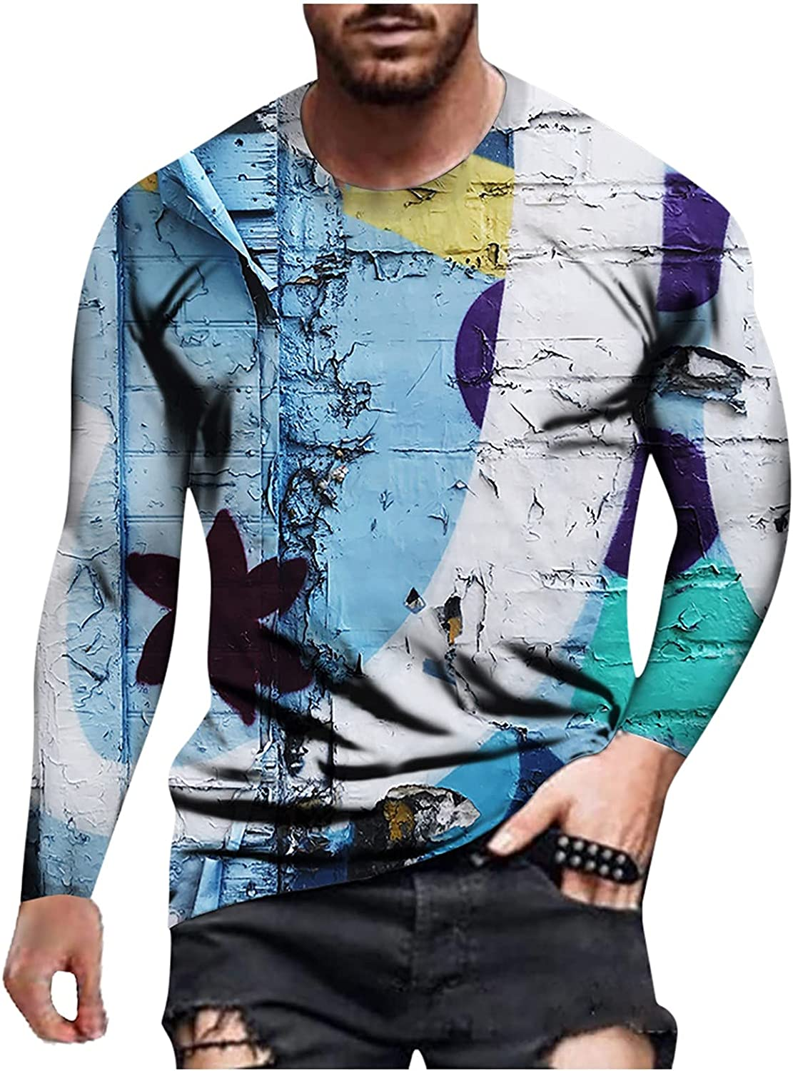 Long Sleeve for Men, Plus Size T-Shirt Retro Muscle Workout Athletics Tops 3D Print Crewneck Big and Tall Graphic Tees