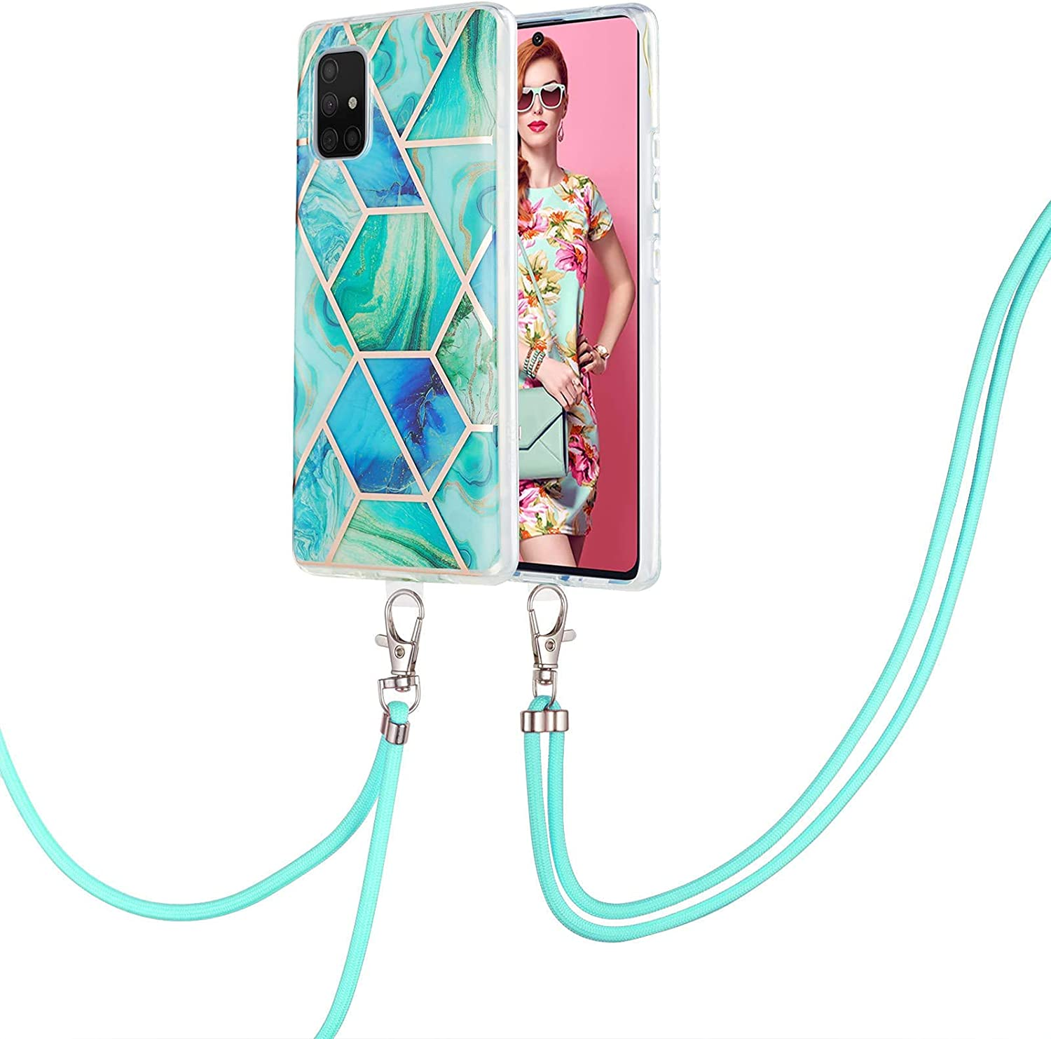 Crossbody Case Compatible with iPhone Xs/X Marble Splicing TPU Cell Phone Mobile Cover Holder with Neck Cord Lanyard Strap(Green)