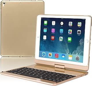 Keyboard Case Compatible iPad 2018 (6th Gen) iPad 2017 (5th Gen) iPad Pro 9.7 iPad Air 2 & 1 360 Rotatable Wireless Backlit 7 Color iPad Case with Keyboard. (Gold)