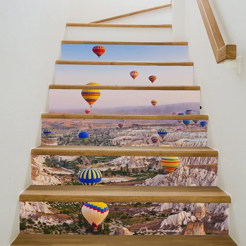 TIEZHI 3D-Heißluftballon Treppe Aufkleber DIY Renovierung Treppe Wandaufkleber wasserdicht Selbstklebende abnehmbare Dekoration 39.3 x7 x6PCS B07DVV93XH   Outlet Store