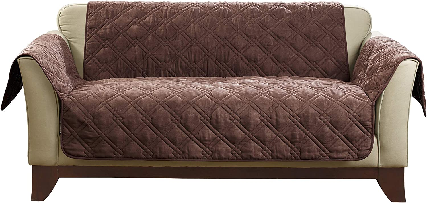 SureFit Quilted Soft Suede Non-Slip Chocolate Sofa Furniture Cover