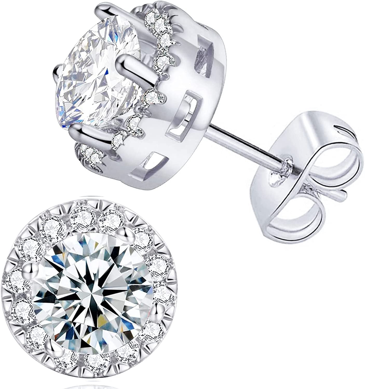 Halo Cubic Zirconia Earrings Hypoallergenic 14K White Gold Plated Stud for Women Men Simulated Diamond