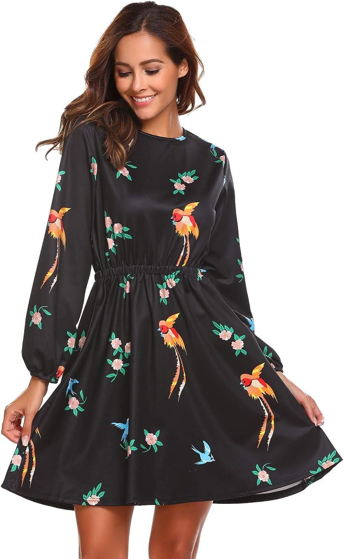 Beyove Women's Scoop Neck Floral Print Long Sleeves Elastic Waist Midi Dress