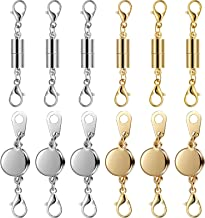 12 Pieces Locking Magnetic Jewelry Clasp Gold and Silver Necklace Clasp Closures Bracelet Extender for Jewelry Making, Obl...