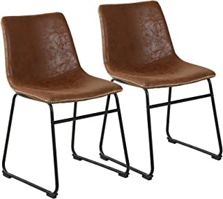 Mid Century Style Dining Chair, Antique Retro Living Chair with Wood Frame Faux Leather Seat and Metal Base, Set of 2 (Brown).