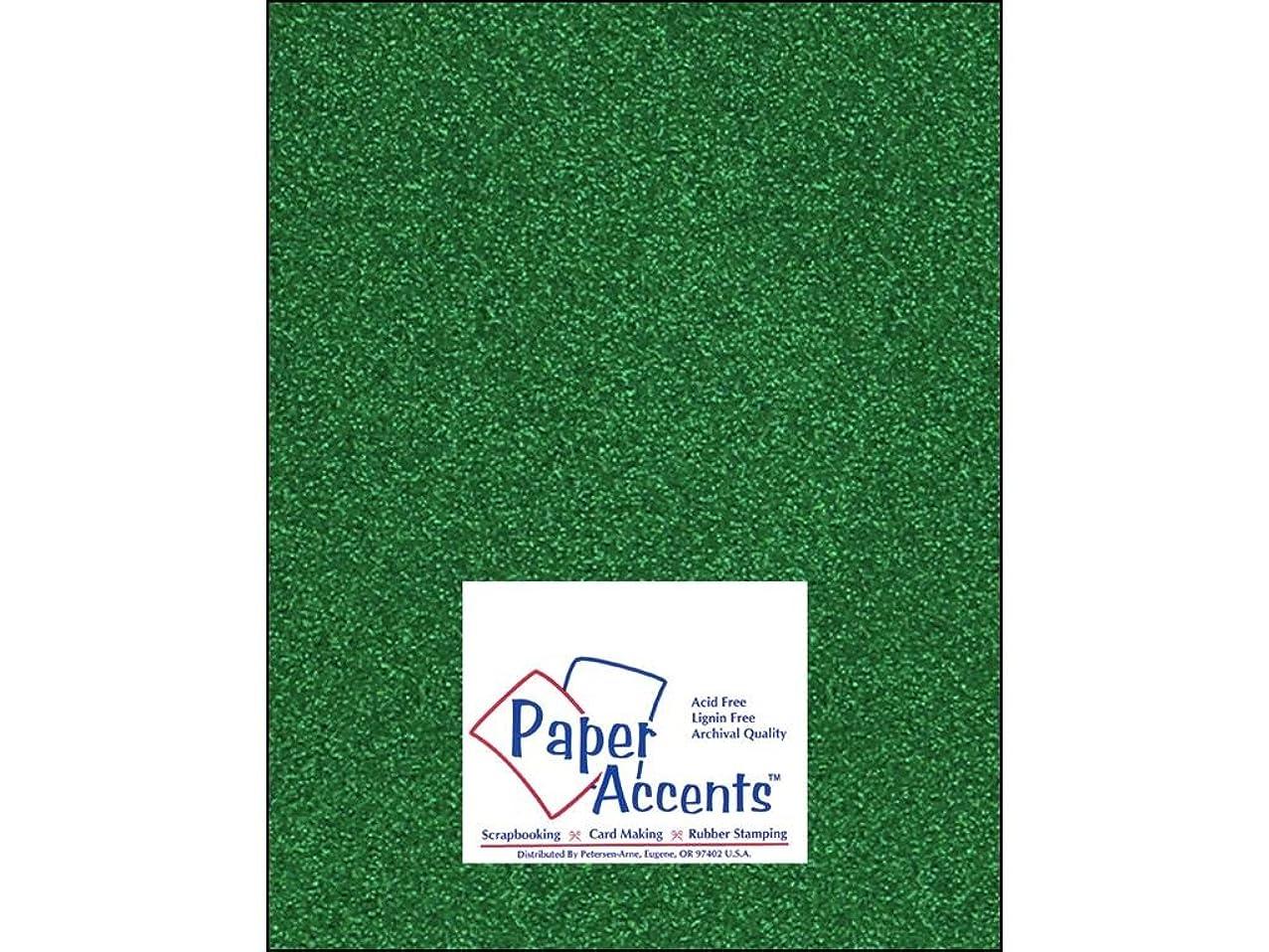 Accent Design Paper Accents Cdstk Glitter 8.5x11 85# Green
