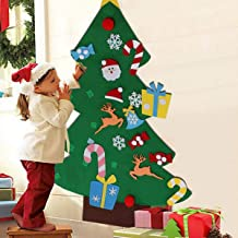 Felt Christmas Tree, 3ft Large Puzzle Handmade DIY Christmas Tree with 28 Pcs Detachable Ornaments Wall Decor for Kids Tod...