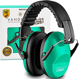 Vanderfields Earmuffs for Kids Toddlers Children - Hearing Protection Ear Defenders for Small Adults Women - Foldable Design Ear Defenders Adjustable Padded Headband Noise Reduction (Turquoise Touch)
