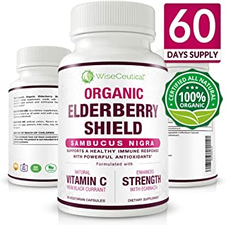 Organic Black Elderberry (Sambucus Nigra) with Organic Black Currant Extract and Organic Echinacea | Non-GMO, Sugar-Free, Natural Immune System Support. Homeopathic Remedy for Cold Relief. 60 Servings