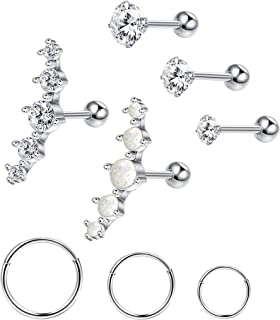 Stainless Steel Cartilage Earrings for Women Ball CZ Helix Conch Daith Piercing Stud Earrings Jewelry Set