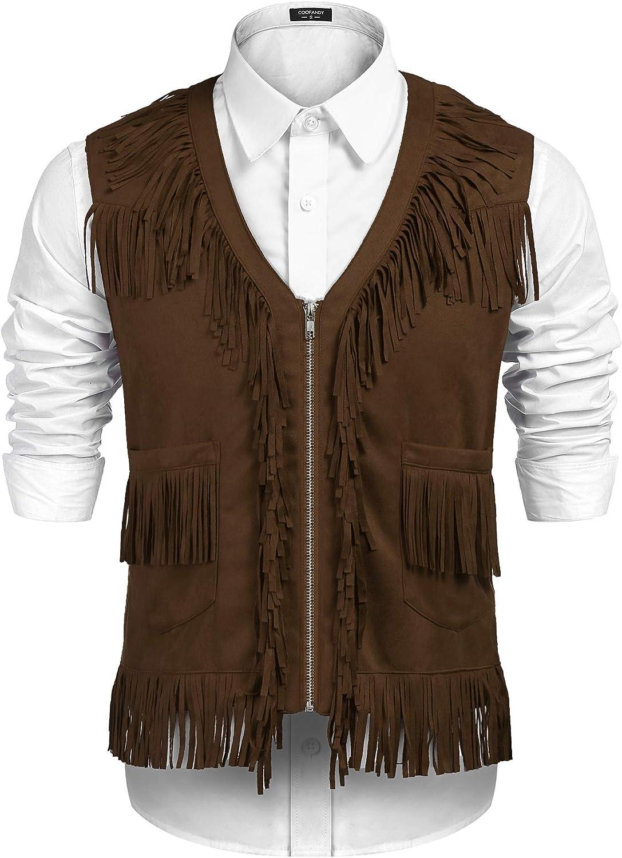 COOFANDY Men's Western Cowboy Vest Costume Fringe Over item handling Today's only Hippie Casual