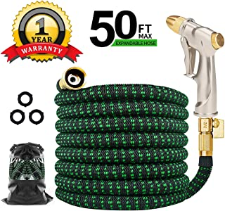 Expandable Garden Hose 50ft, TINGPO Kink Free Water Hose with Strongest 6 Function Zinc Alloy Water Spray Hose Nozzle, Expanding Flexible Outdoor Yard Hose with Double Latex Core, Solid Brass Fittings