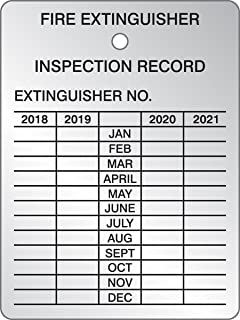 Accuform TRS22018 Fire Extinguisher Inspection Record, English, Aluminum, 3 x 2.25, Black On Aluminum (Pack of 5)
