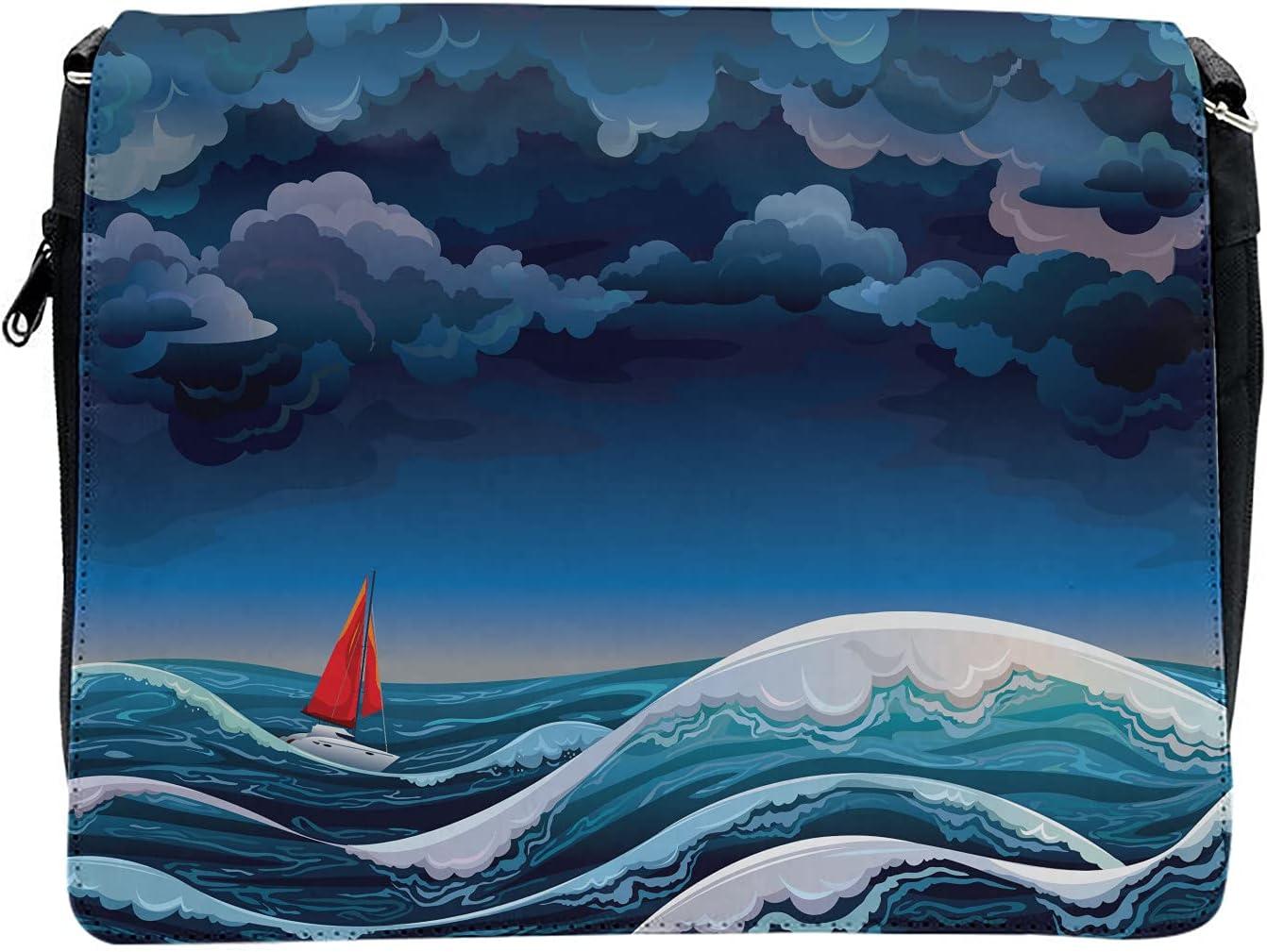 Ambesonne Dark Blue Cross Body Messenger Bag, Night Seascape Boat, Unisex