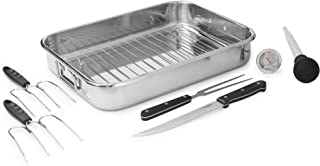 VonShef Stainless Steel Roaster Set – Ideal for Roasting Turkey, Chicken and Other Meat Joints, Perfect for Thanksgiving and the Holidays, 8pc Set, 8 Quart Capacity