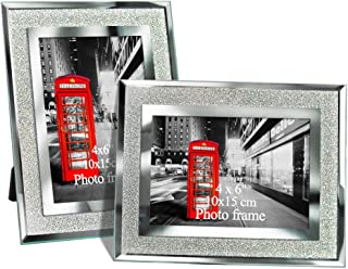 Amazing Roo 2 Pack 4x6 Glass Picture Frame Tabletop Display 4 X 6 Inch Photo Crystal Mirrored Frames