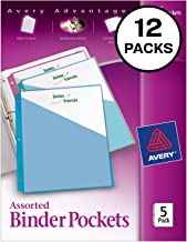 Avery Binder Pockets, Assorted Colors, 8.5