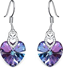 T400 Jewelers Heart Dangle Earrings for Women Made with Swarovski Element Crystal Dangling Fishhook Earrings Love Gift